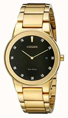 Citizen | mens axioma eco-drive | diamanten set zwarte wijzerplaat | AU1062-56G
