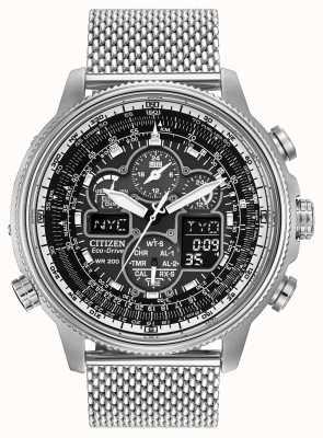 Citizen Mens navihawk op roestvrij stalen horloge zwarte wijzerplaat JY8030-83E