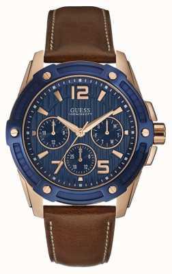 Guess Mens vlaggenschip multifunctionele rose gouden horloge W0600G3