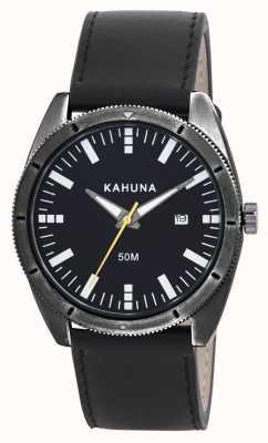 Kahuna Mens zwart lederen band horloge KUS-0115G