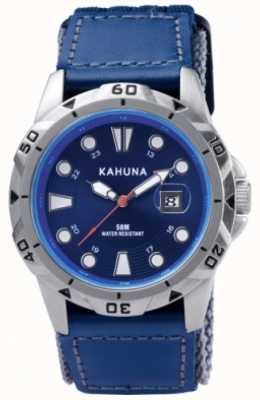 Kahuna Blauwe band en wijzerplaat gepolijste metalen behuizing horloge K5V-0001G