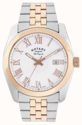 Rotary Mens Lausanne, twee toon, rose gouden horloge GB90111/01