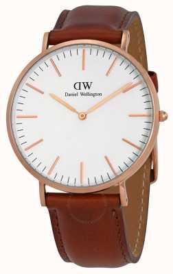 Daniel Wellington Heren bruin lederen quartz analoog horloge DW00100006