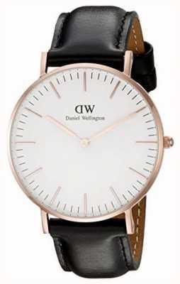 Daniel Wellington Dames zwart lederen quartz analoog horloge DW00100036