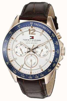 Tommy Hilfiger Bruin lederen herenhorloge met luke-rosé kleur 1791118