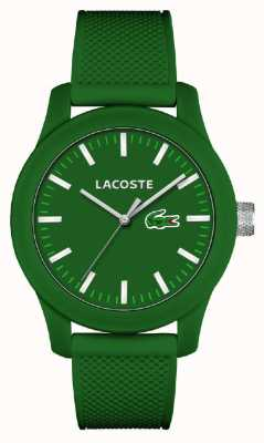 Lacoste Mens 12.12 groene siliconen band groene wijzerplaat 2010763