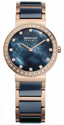 Bering Dames parel, blauw & rose goud, kristal 10729-767
