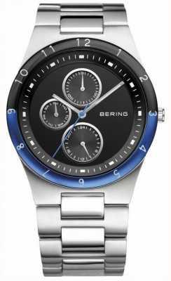Bering Mens staal, zwarte wijzerplaat, blauw accent horloge 32339-702