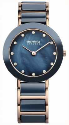 Bering Dames blauwe keramische rose goud parelmoer 11429-767