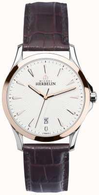 Michel Herbelin Gents lier staal en rose gouden riem horloge 12213/TR12MA