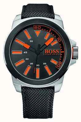 Hugo Boss Orange Gents roestvrij staal, zwart lederen band 1513116