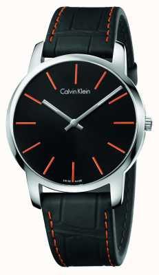 Calvin Klein Heren stad zwart lederen band zwarte wijzerplaat K2G211C1