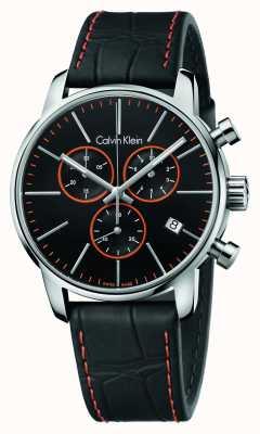 Calvin Klein Gents stad chronograaf zwart lederen band K2G271C1