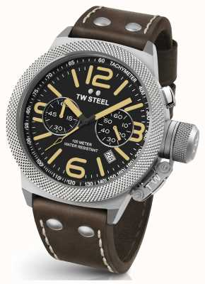 TW Steel Gents kantine chrono 50mm bruin lederen band CS34