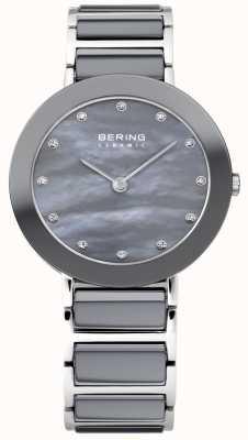 Bering Ladies grijs keramische blauwe parelmoer dial 11429-789
