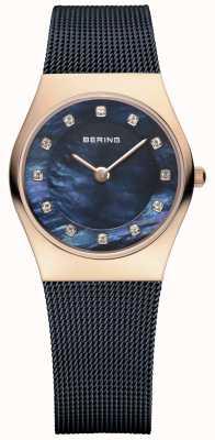 Bering Ladies blauwe mesh band pvd rose gouden kast 11927-367