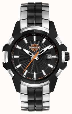 Harley Davidson Spinnenweb voor heren | tweekleurige stalen armband | zwarte wijzerplaat 78B124