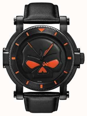 Harley Davidson Mens Black willie g schedel horloge 78A114
