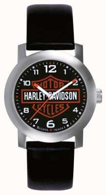 Harley Davidson Mens zwart lederen band horloge 76A04