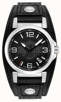Harley Davidson Heren RVS datum horloge 76B163
