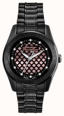 Harley Davidson Zwart en roze vrouwen gouden horloge 78L112
