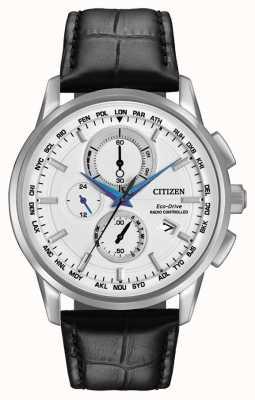 Citizen Eco-aandrijving wereld chrono op radiobestuurde leer AT8110-02A