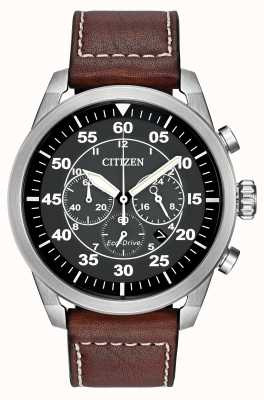 Citizen Avion eco-rijden bruin lederen band CA4210-24E