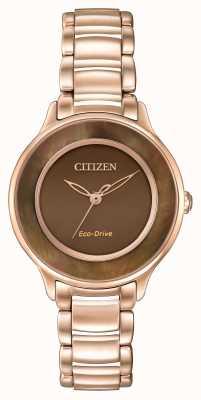 Citizen Eco-Drive rose gouden cirkel van tijd bruin EM0382-86X