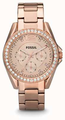 Fossil Dames Riley rose goud pvd verguld ES2811