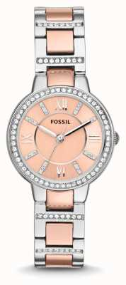 Fossil Womens Virginia two tone roze wijzerplaat ES3405