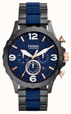 Fossil Mens nate chronograaf zwart ip marine horloge JR1494