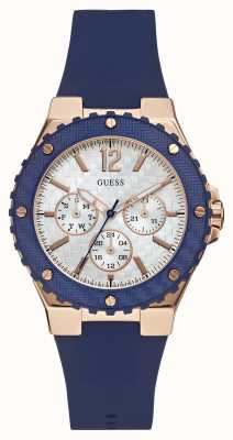 Guess Dames overdrive blauwe rubberen band W0149L5