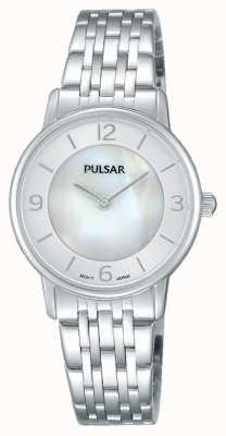 Pulsar Dames roestvrijstalen parelmoeren wijzerplaat PRW025X1