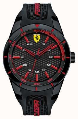 Scuderia Ferrari Rode rev zwarte siliconenband zwarte rode wijzerplaat 0830245