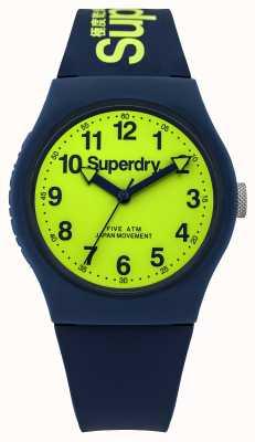 Superdry Gents stedelijke blauwe rubberen band groene wijzerplaat SYG164UN