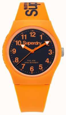 Superdry Heren stedelijke oranje rubberen band zwarte wijzerplaat SYG164O