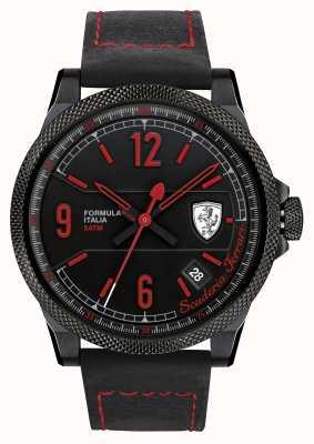 Scuderia Ferrari Formule italia zwarte band zwarte wijzerplaat 0830271