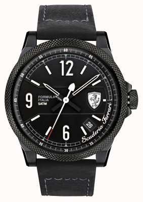 Scuderia Ferrari Formule italia zwarte band zwarte wijzerplaat 0830272