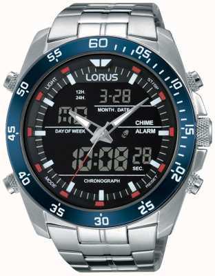Lorus Heren dubbele tijd roestvrij staal RW623AX9