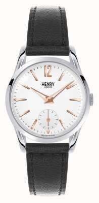 Henry London Highgate zwart lederen band witte wijzerplaat HL30-US-0001
