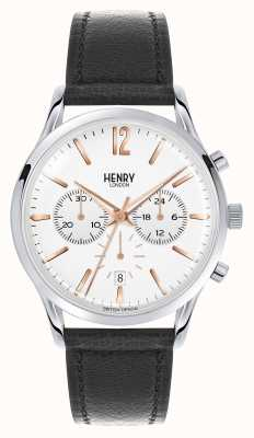Henry London Highgate zwart lederen band chronograaf HL41-CS-0011
