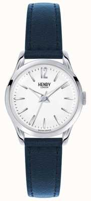 Henry London Knightsbridge blauw lederen band witte wijzerplaat HL25-S-0027