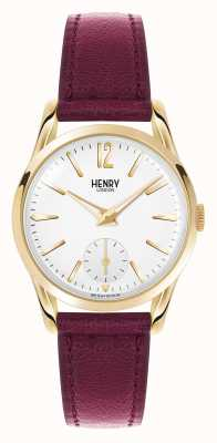 Henry London Holborn diep rood lederen band witte wijzerplaat HL30-US-0060