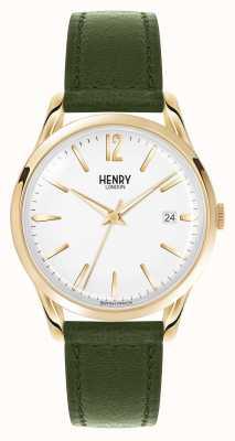 Henry London Chiswick groen lederen band witte wijzerplaat HL39-S-0098