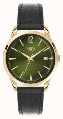 Henry London Chiswick zwart lederen band groene wijzerplaat HL39-S-0100