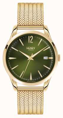 Henry London Chiswick verguld mesh groene wijzerplaat HL39-M-0102