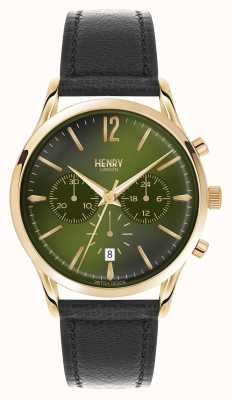 Henry London Chiswick zwart lederen band chronograaf HL41-CS-0106