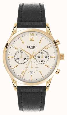 Henry London Westminster zwart lederen band chronograaf HL41-CS-0018