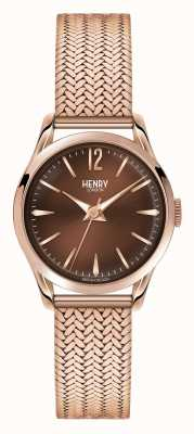 Henry London Harrow rose goud verguld mesh chocolade wijzerplaat HL25-M-0044