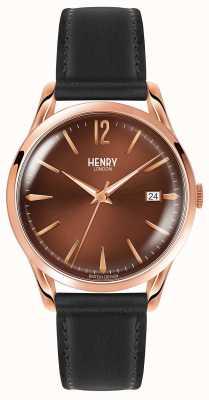 Henry London Harrow zwart lederen riem chocolade wijzerplaat HL39-S-0048